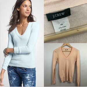J. Crew Light Pink V-Neck Pullover Sweater Preppy